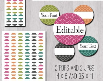 """Colorful Qautrefoil Editable PDFs and JPGs 1 Inch 25mm Circle Bottle Cap Image 1"""" in 4x6 and 8.5x11 Digital Collage Sheet"""