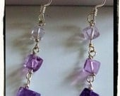 Genuine Amethyst and Fluorite Sterling Silver Earrings -- Ombre Purple Lovers Pair
