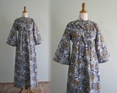 Vintage 1970s Dress - Romantic Blue and Yellow Boho Princess Dress - 70s Young Innocent by Arpeja Dress XS S
