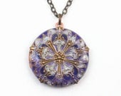 Plum Purple Locket Necklace Round Flower Pendant with Resin Embellished Brass Filigree