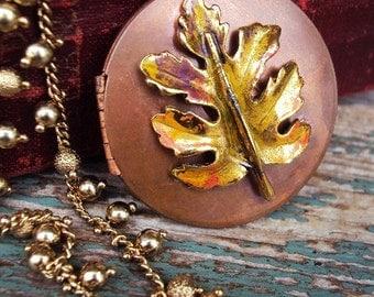 Vintage Copper Locket Long Necklace Beaded Chain Enameled Leaf Embellishment