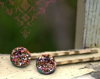 Faux Druzy Glitter Bobby Pins - Magenta, Pink, Gold, Black Glitter Hair Accessories