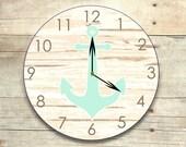 Anchor clock, rustic wall clock, nautical nursery, cottage decor, wooden clock, nursery decor, aqua anchor, anchor wall art, wooden anchor