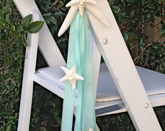 Beach Wedding Starfish Chair Decoration with 4 Natural Starfish and Satin and Sheer Ribbons - 24 Ribbon Colors available