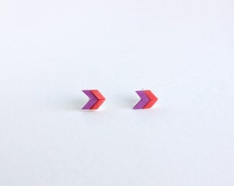 Purple Stud Earrings - small post earrings, simple everyday earrings, chevron, geometric, nickel free, hypoallergenic earrings