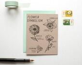 Flower Symbolism - Love Card - Valentine - Anniversary - friendship - screen printed - victorian - floral - modern - rustic - hand lettering