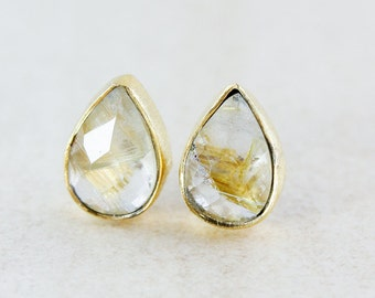 Golden Rutile Quartz Stud Earrings - Rutilated Quartz