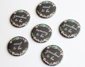 Baby Shower Pins, Custom Button, Mom to Be, Chalkboard Badge, Grandma Button, Mommy Pin, Aunt Badges, Favor, Mum, Pregnancy Announcement
