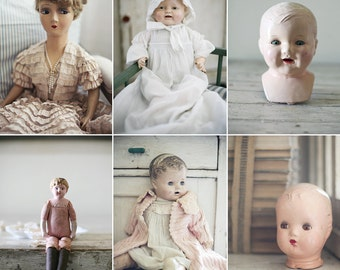 vintage dolls postcard set