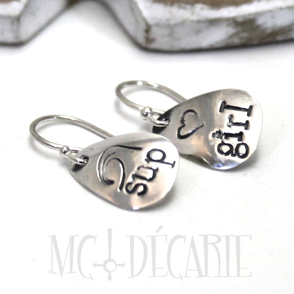 Small Metal Initials Mini Earrings With Stampyou Can Personalize Them With Initials
