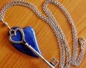 Skeleton key necklace, Agate necklace, heart necklace, natural stone necklace, big bold necklace, big chunky necklace, statement necklace