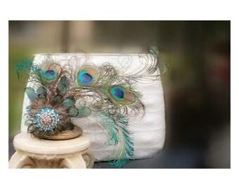 Wedding Peacock Hair Comb Fascinator. Engagement Peacock Feather. Bride Bridal Big Day Pin.Teal Green Turquoise Metallic Boudoir Spring Gift