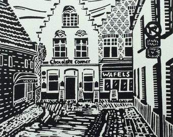 Original Linocut Print Chocolate Corner