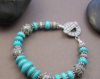 Phoenix Turquoise Bracelet - Genuine Turquoise with Sterling Silver