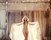 Sleeping Beauty Bridal Cape Champagne / Ivory Satin, fur wedding cloak 67 inch Semi-Royal-Train Handmade in USA