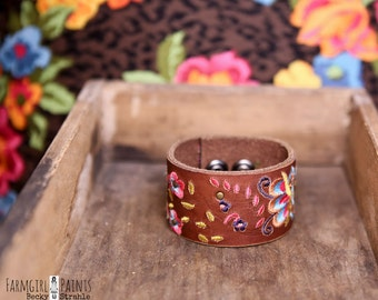 CUSTOM HANDSTAMPED CUFF - bracelet - personalized for you by farmgirl paints - brown leather cuff with stitched flowers and butterflies