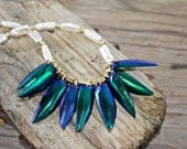 Beetle Wing and Pearl Necklace Green Blue Iridescent Elytra Wings with Ivory Baroque Pearls Organic Nature Jewelry