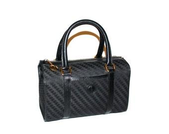GUCCI Vintage Speedy Handbag Black Monogram Leather Doctors Tote - AUTHENTIC -