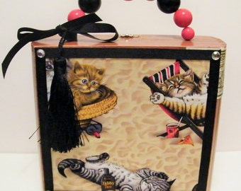 Cats Kittens On The Beach Sunbathing Kitties Wood Cigar Box Purse