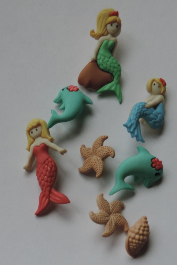 Splish Splash, Mermaid and Dolphin Buttons, Packaged Novelty Button Assortment by Dress It Up Jesse James