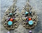 Gypsy Earrings Colorful dangle earrings bohemian jewelry gypsy jewelry turquoise and red big earrings statement earrings one of a kind