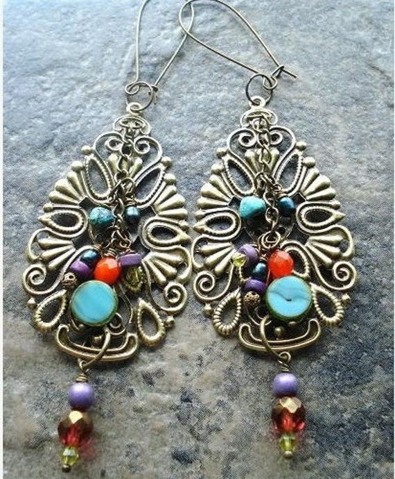 Gypsy Earrings Colorful dangle earrings bohemian jewelry gypsy jewelry turquoise and red big earrings statement earrings one of a kind