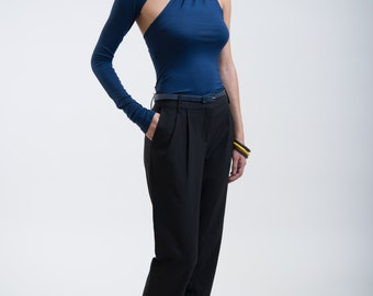 Blue Fitted Top / Unique One Shoulder Sleeve Blouse / Extra Long Sleeve / Party Top / Fitted Shirt / marcellamoda - MB001