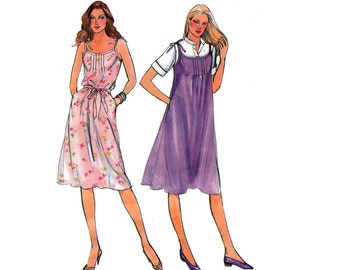 80s Tent Dress Pattern Butterick 3721 Vintage Sewing Pattern Pin tucks Shift dress Size 10 Bust 32 1/2 inches UNCUT Factory Folded