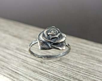 Rose Statement Ring, Rose Sterling Silver Ring, Oxidized Rose Ring