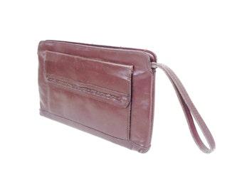 SALE Vintage 1970s Boho Burgundy Leather Clutch Bag Purse