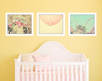 carnival art, nursery pictures, little girl room art, set of 3 photos, pastel art, baby girl nursery ideas, gallery wall prints, pink art