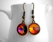 Autumn Wedding Bridesmaids Gifts, Volcano Swarovski Earrings, Terracotta Jewelry, Multicolor Earrings, Orange Rivoli Earrings Copper Drop