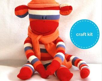 Stuffed Toys, Sock Monkey Kit - Red & Orange Stripes, Craft Kit, Stuffed Doll