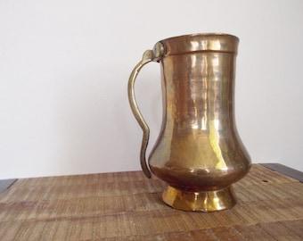Antique Hand Hammered Brass Stein Tankard Vase