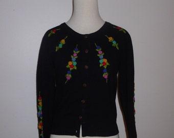 Vintage Black Multi Color Rose Embroidered Betsey Johnson Cardigan Sweater