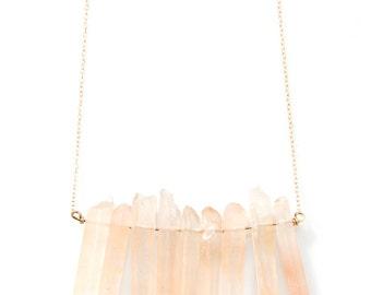 Blush Pink quartz Stone Bib Necklace - NG05