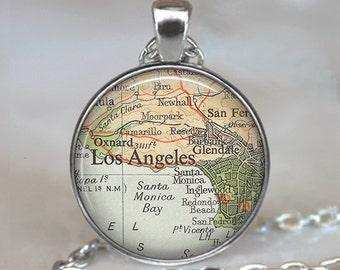 Los Angeles map necklace, Los Angeles map jewelry, Glendale Santa Monica Burbank Oxnard, map pendant, keychain key chain