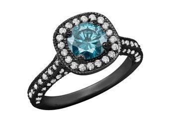 Diamond Engagement Ring Fancy Blue & White Diamond Engagement Ring Vintage Style 14k Black Gold 1.85 Carat Halo Certified HandMade Pave Set