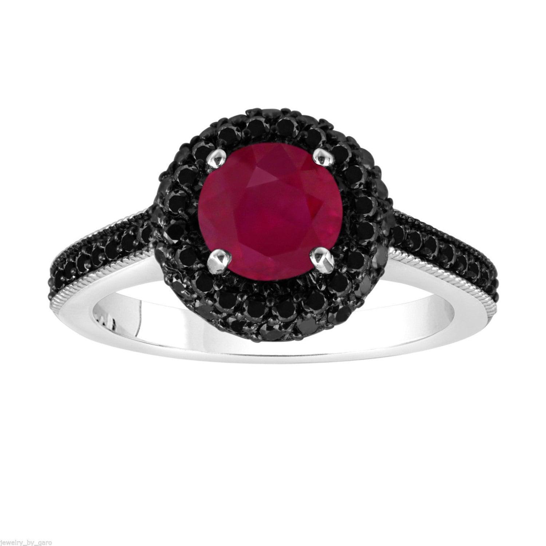 Platinum Ruby & Fancy Black Diamond Engagement Ring 1 80 Carat