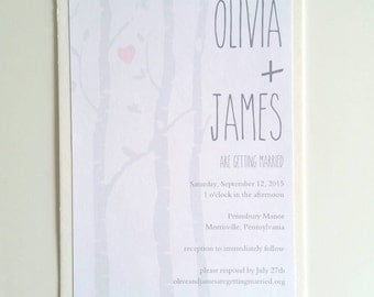 5 x 7 Cotton Birch Wedding Invitation