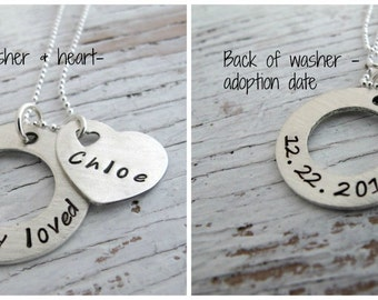 Adoption Necklace, Personalized, Chosen and Loved, Hand Stamped, Sterling Silver, Double Sided with Adoption Date