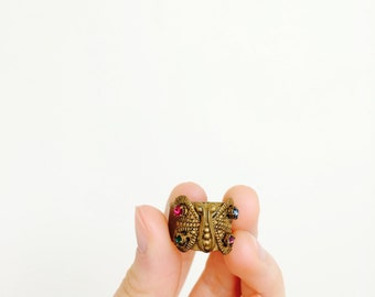 Vintage Butterfly ring with multi color rhinestones