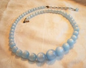 Vintage Moon-glow Cat's Eye Lucite Necklace 1950's Baby Blue Graduated Beads Retro Fashion