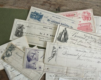 Lot of Antique Receipts Ephemera With Engraved Illustrations Great for Collages    SALE - was 48.00