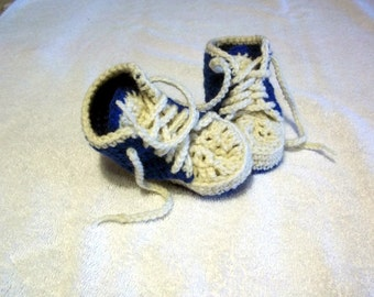 Baby Sneaker Booties Newborn to Twelve Months Baby Boy or Girl In Color of Your Choice