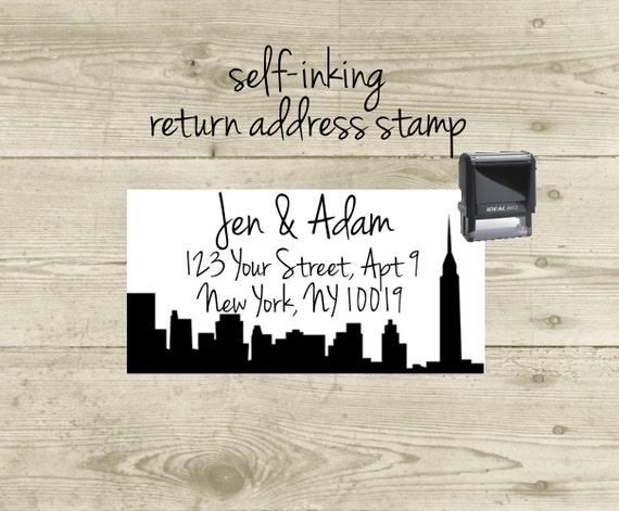 Custom Return Address Stamp- CUSTOM CITIES - save the dates, invitations, thank you cards, New York City skyline