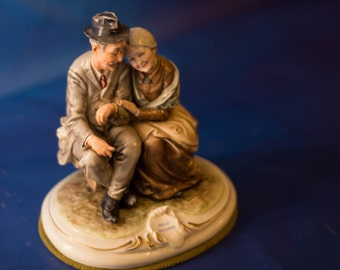 Capodimonte Bruno Merli Figurine Old Man and Woman Cherished Memories