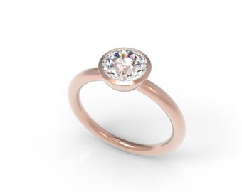 Rose Gold Bezel Solitaire Engagement Ring