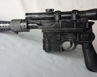 Hand Painted Han Solo Blaster Gun Prop Star Wars costume weapon with working trigger sound Full Size DL 44 for Cosplay