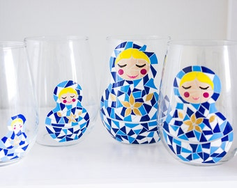 Matryoshka Hand Painted Wine Glasses- Dutch Blue Mosaic and Gold Floral Russian Nesting Dolls- Set of 4